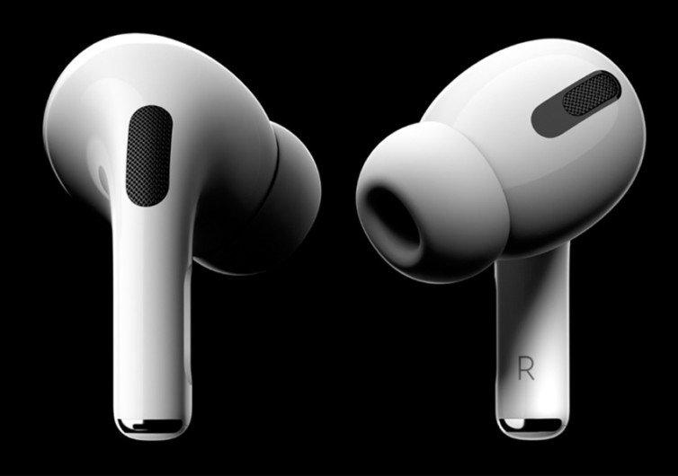 2 écouteurs airpods blanc sur fond noir