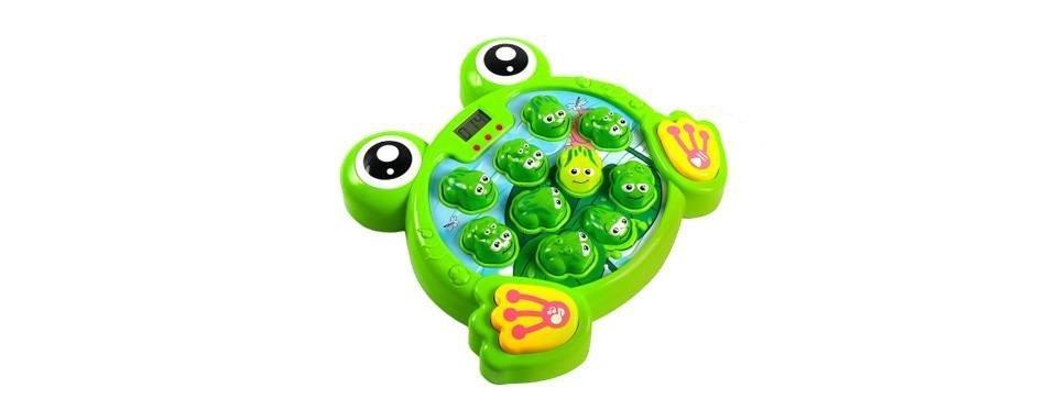 un jeu de grenouille vert