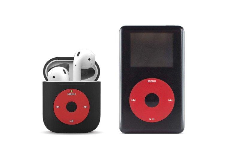 boite rouge et noir et un écouteur de musique