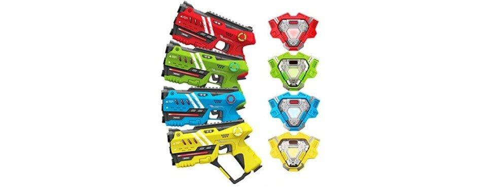 4 pistolets laser game rouge jaune bleu rouge