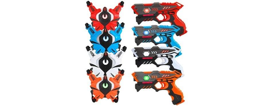 4 pistolets laser game orange et bleu