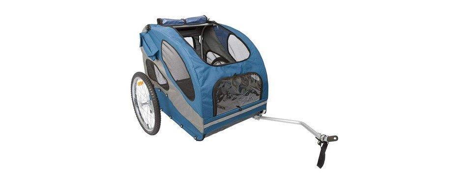 remorque à vélo pour chien bleue
