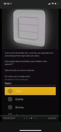 application smartphone choix pièce de la maison