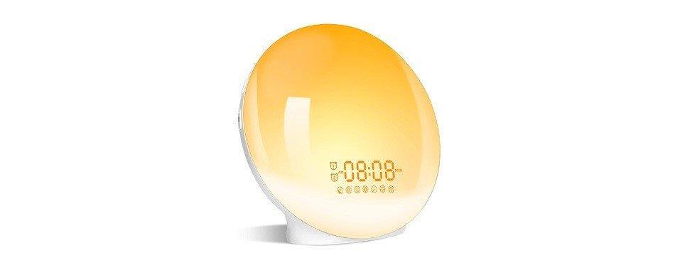 radio réveil lumineux en forme de lampe jaune