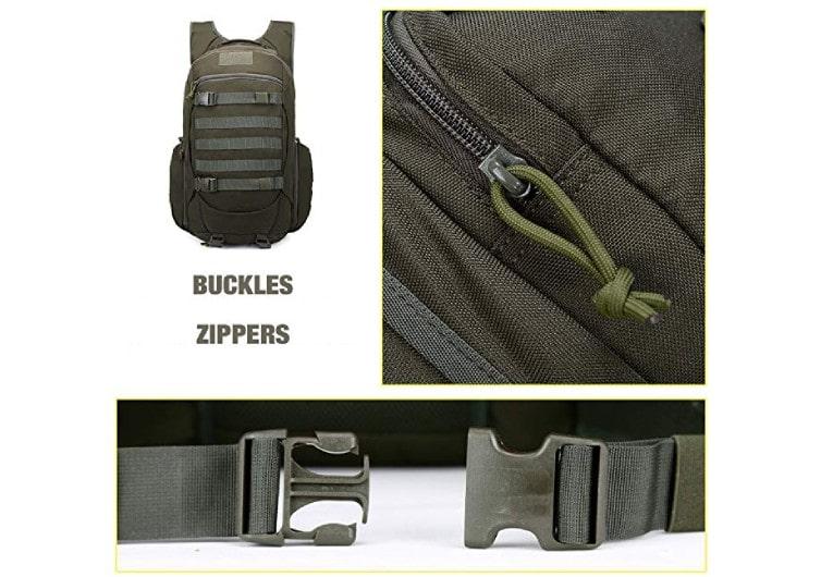 détails des sangles et zip du sac à dos militaire