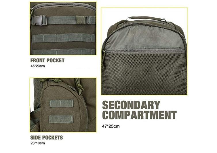 sac à dos militaire rangements secondaires