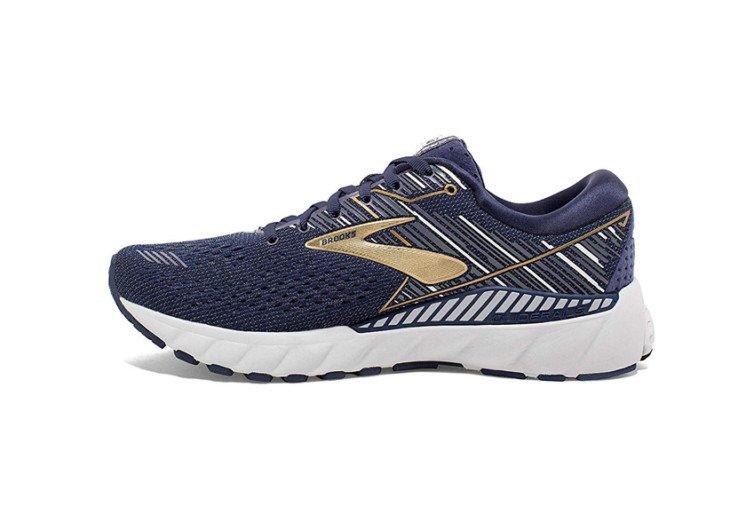 côté droit chaussures pour courir bleu et or