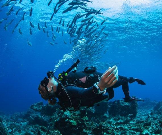 plongeuse sour la mer avec une montre