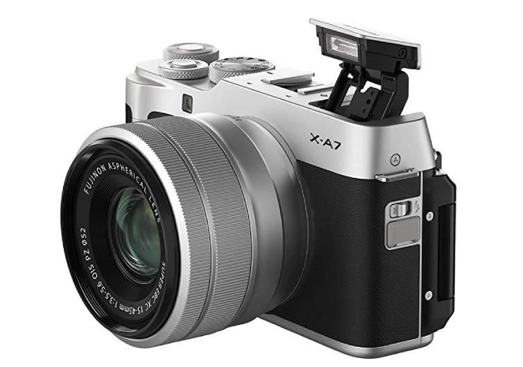 appareil photo fujifilm xa7 vue de côté gris